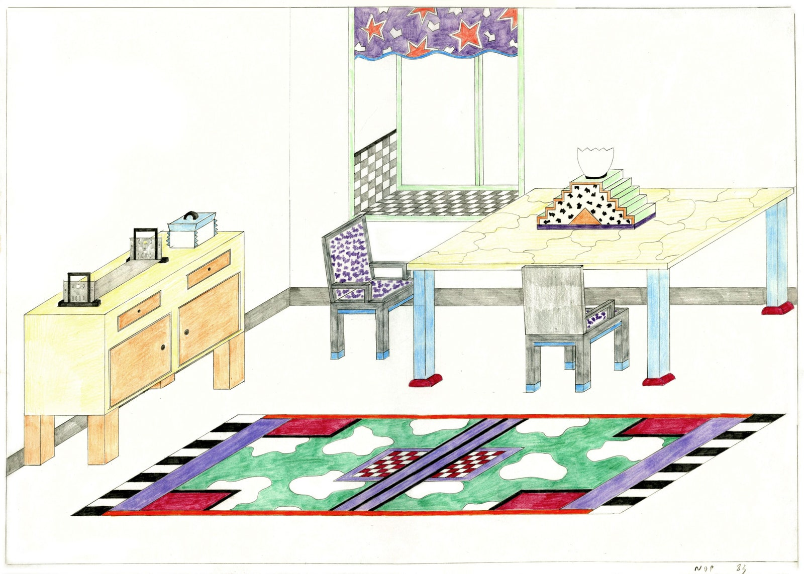 Nathalie du Pasquier drawing of an interior 1982  Nathalie du Pasquier