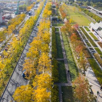 Парк на месте бывшей посадочной полосы в Шанхае