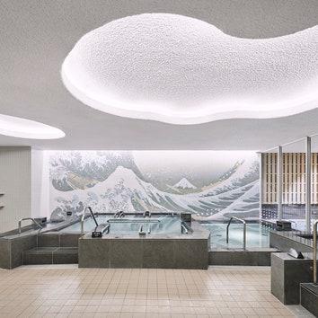 Спа-центр с интерьером, вдохновленным работами Кацусики Хокусая