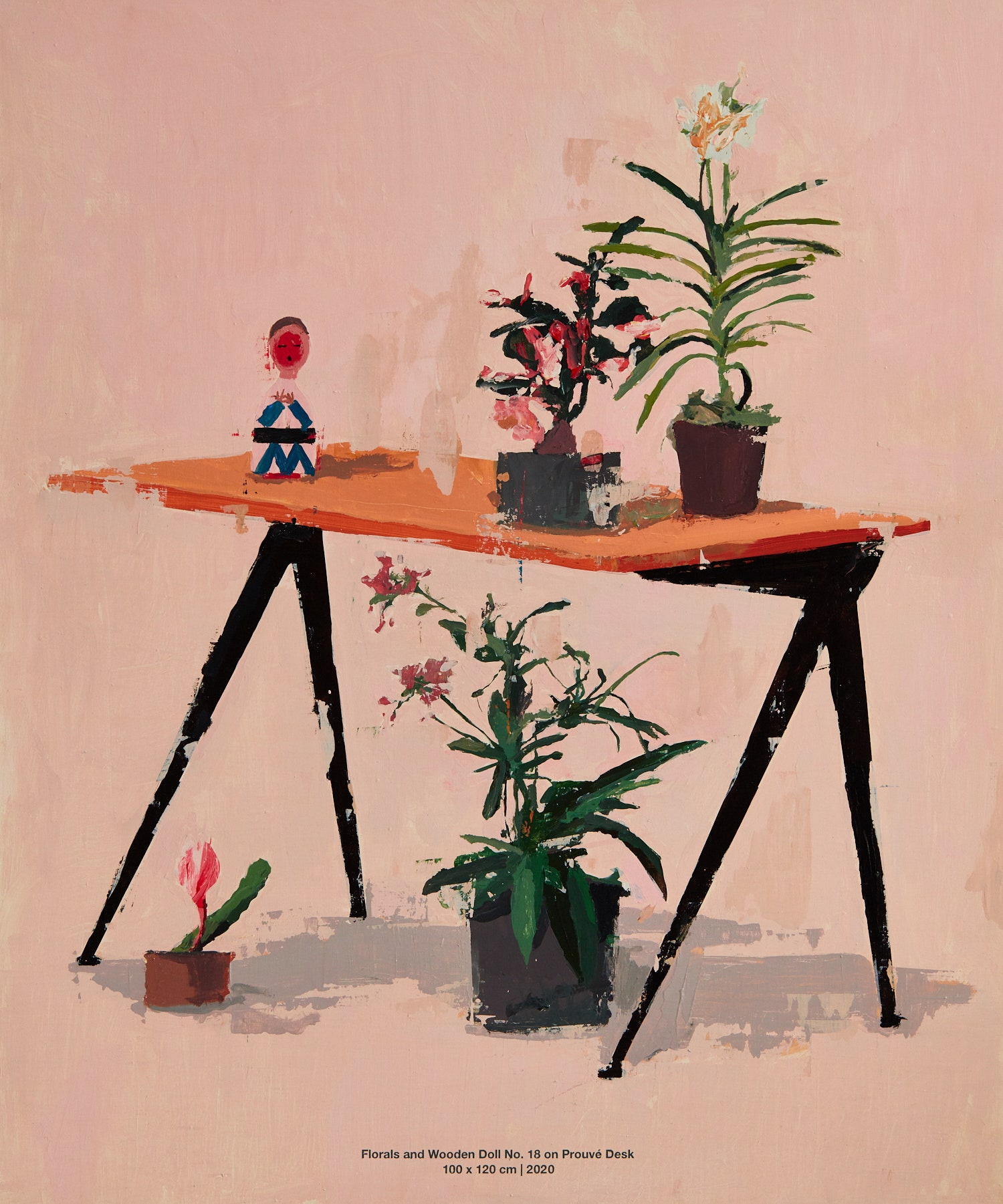 Flower and Wooden Doll No. 18 on Prouve Desk. 2020. 100 x 120 cm.