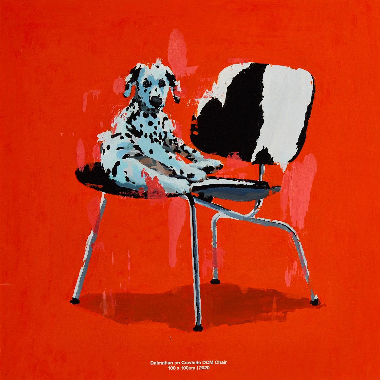 Dalmatian on Cowhide DCM Chair. 2020. 100 x 100 cm.