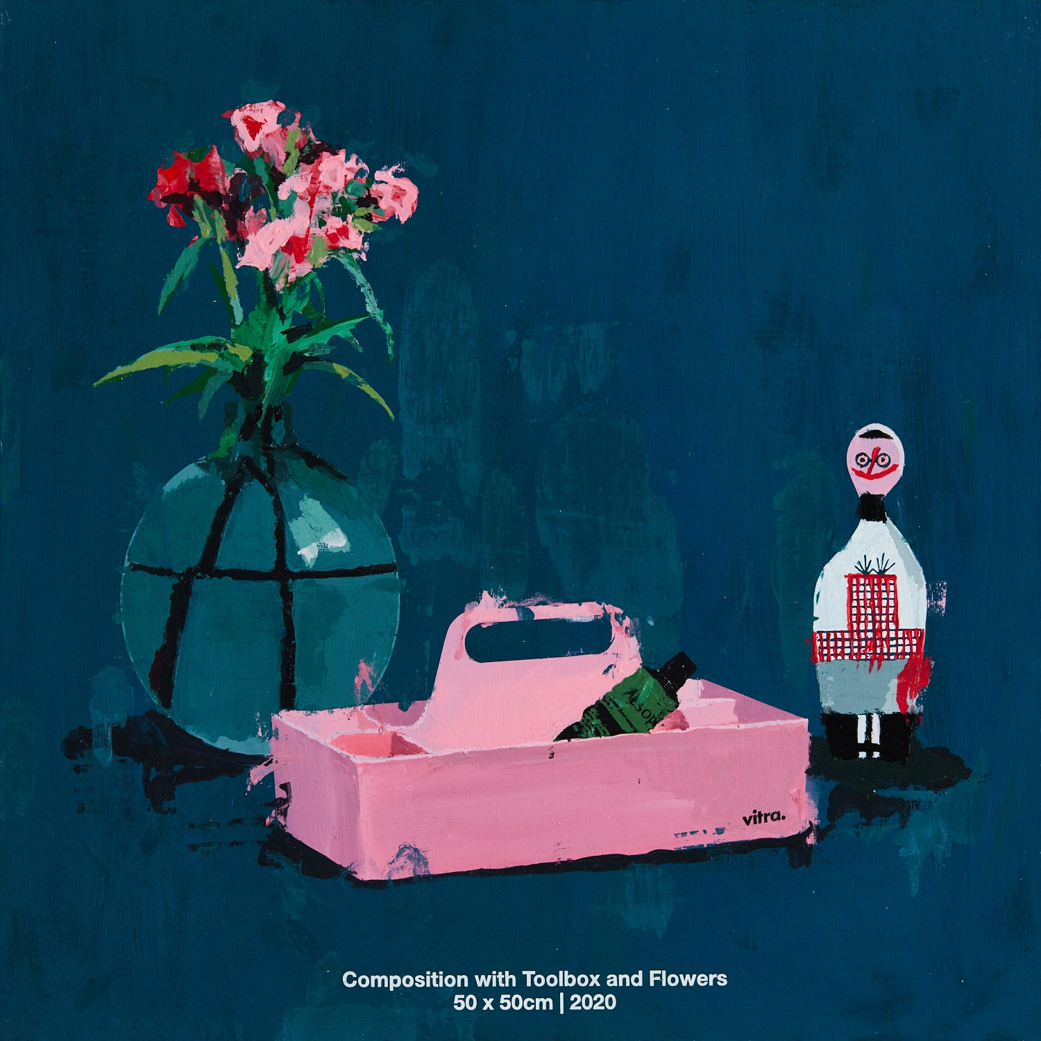 Compostion with Toolbox and Flowers. 2020. 50 x 50 cm.