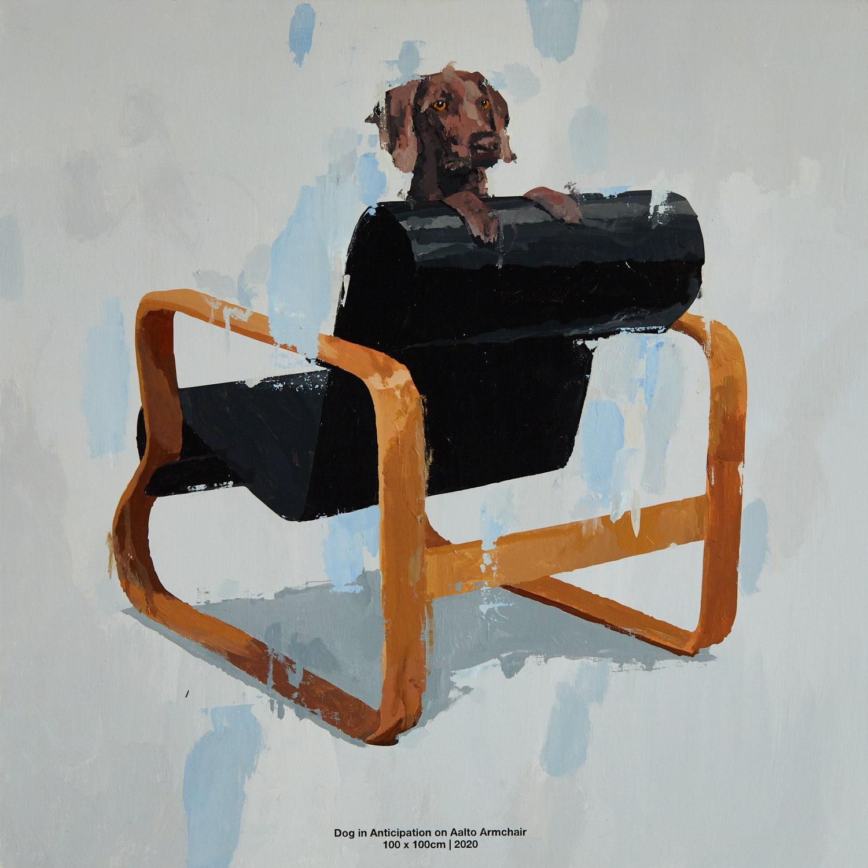 Dog in Anticipation on Aalto Armchair. 2020. 100  100 .