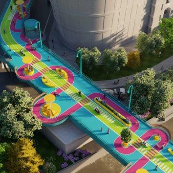 Проект реновации пешеходного моста в Шанхае