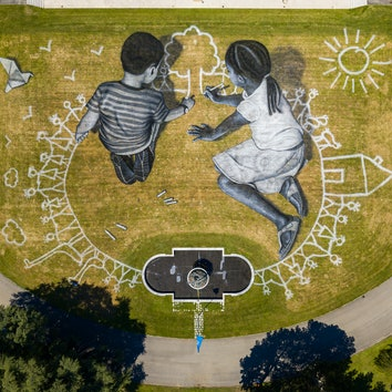 Ленд-арт в честь юбилея ООН в Женеве