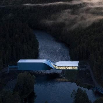 Первый проект BIG в Норвегии: музейный павильон-мост в парке Кистефос