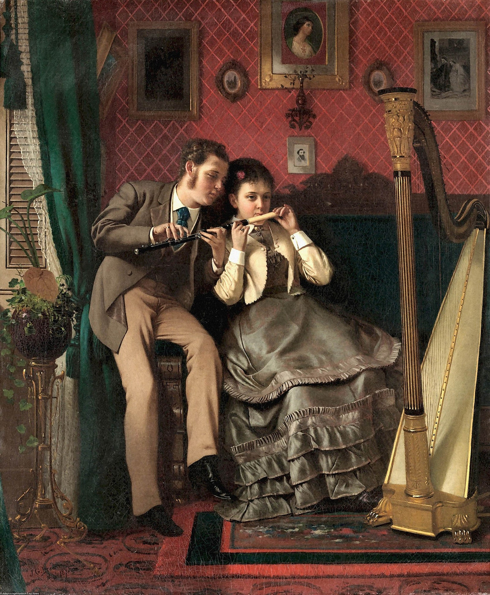 The Music Lesson.  John George Brown 1870.   .