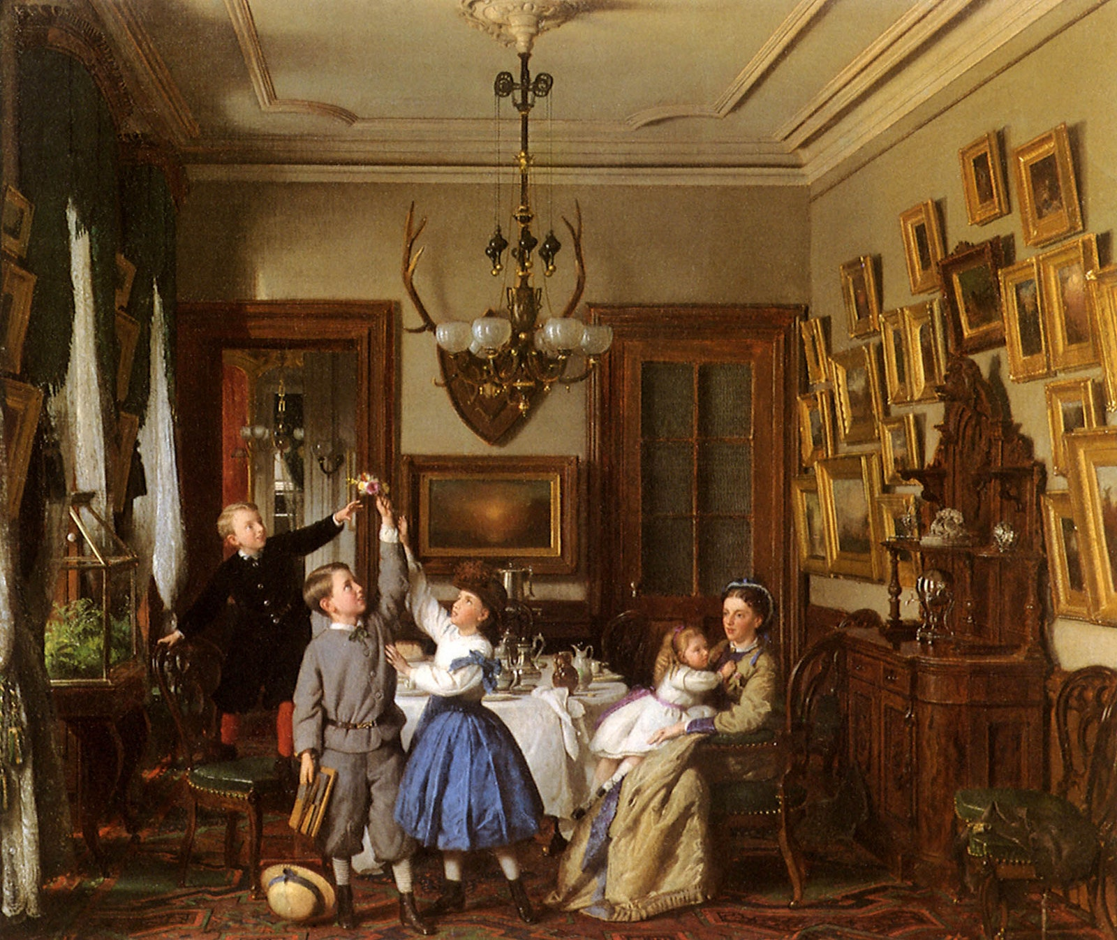 The Contest for the Bouquet The Family of Robert Gordon in Their New York DiningRoom.  Seymour Joseph Guy 1866.   .