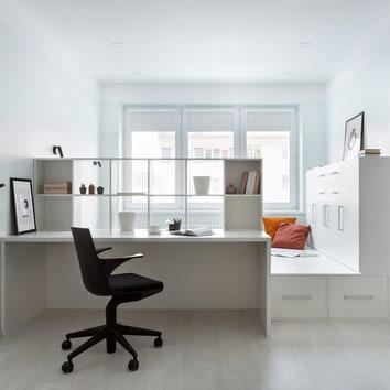 Квартира со спальней на подиуме, 42 м²