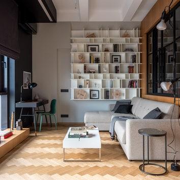 Брутальная квартира сграфичными деталями, 52 м²