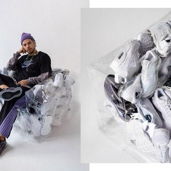 Гарри Нуриев для Nike: кресло из кроссовок и стеллаж для хранения обуви
