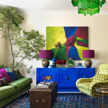 Сине-зеленая квартира дизайнера, 80 м²