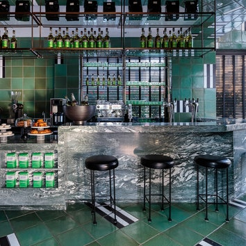 Гламур в полоску: кофейня La Bande от Келли Уирстлер в Сан-Франциско