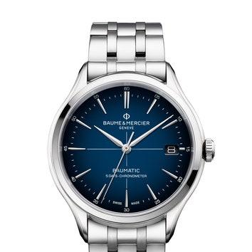 Часы Clifton Baumatic, Baum & Mrecier с синим циферблатом и стальным ремешком. Механизм Baumatic, версия BM13.