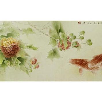 Афиша выставки художника Гун Сюциана в Музее Ар Деко в Москве.