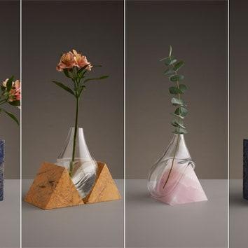 Скульптурные вазы из стекла и камня