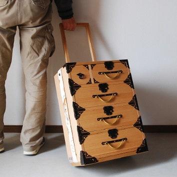 Деревянный чемодан-комод