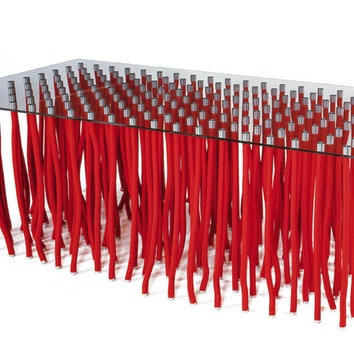 Стол из коллекции Org, стекло, металл, веревки, Cappellini.