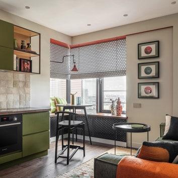 Квартира по проекту Татьяны Архиповой в Москве, кухня-гостиная