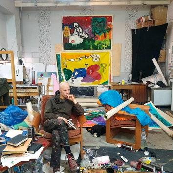 Персональная выставка Евгения Музалевского в Alina Pinsky Gallery. Евгений Музалевский в мастерской в Москве.